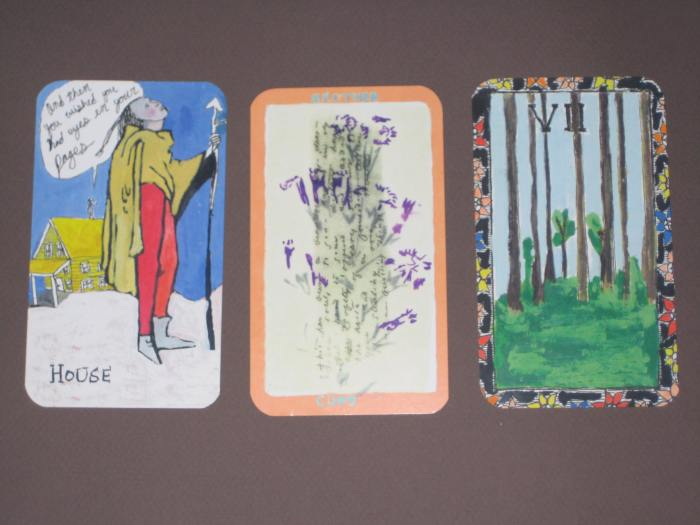 page of wands / king of cups / seven of pentacles